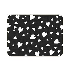 Black And White Hearts Pattern Double Sided Flano Blanket (mini)  by Valentinaart