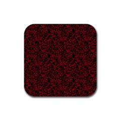 Red Coral Pattern Rubber Square Coaster (4 Pack)  by Valentinaart