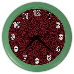 Red Coral Pattern Color Wall Clocks by Valentinaart