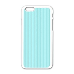 Light Blue Texture Apple Iphone 6/6s White Enamel Case by Valentinaart