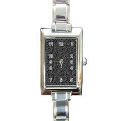 Black Elegant Texture Rectangle Italian Charm Watch by Valentinaart