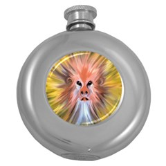 Monster Ghost Horror Face Round Hip Flask (5 Oz) by Nexatart