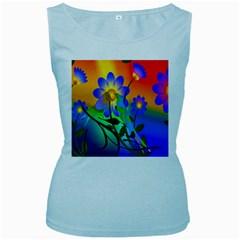Abstract Flowers Bird Artwork Women s Baby Blue Tank Top by Nexatart