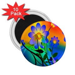 Abstract Flowers Bird Artwork 2 25  Magnets (10 Pack)