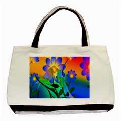 Abstract Flowers Bird Artwork Basic Tote Bag by Nexatart