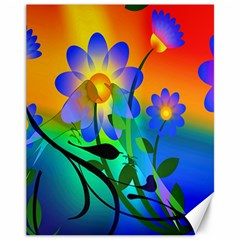 Abstract Flowers Bird Artwork Canvas 11  X 14