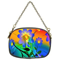 Abstract Flowers Bird Artwork Chain Purses (one Side)
