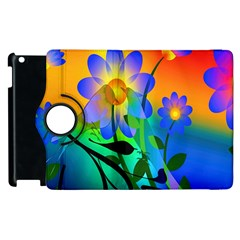 Abstract Flowers Bird Artwork Apple Ipad 3/4 Flip 360 Case by Nexatart