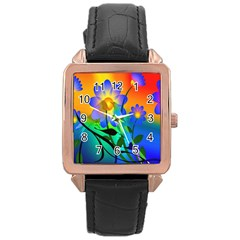 Abstract Flowers Bird Artwork Rose Gold Leather Watch