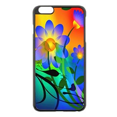 Abstract Flowers Bird Artwork Apple Iphone 6 Plus/6s Plus Black Enamel Case