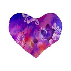 Abstract Flowers Bird Artwork Standard 16  Premium Heart Shape Cushions