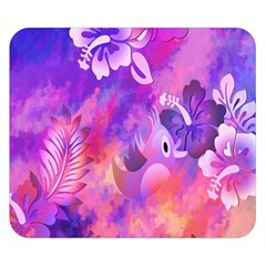 Abstract Flowers Bird Artwork Double Sided Flano Blanket (small)  by Nexatart