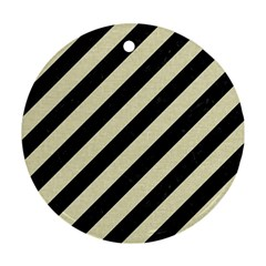 Stripes3 Black Marble & Beige Linen Ornament (round) by trendistuff