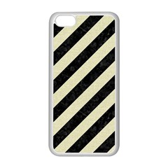 Stripes3 Black Marble & Beige Linen Apple Iphone 5c Seamless Case (white)