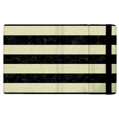 Stripes2 Black Marble & Beige Linen Apple Ipad 2 Flip Case by trendistuff