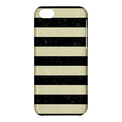 Stripes2 Black Marble & Beige Linen Apple Iphone 5c Hardshell Case by trendistuff