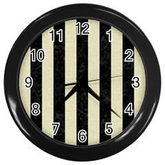 Stripes1 Black Marble & Beige Linen Wall Clock (black) by trendistuff
