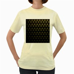 Abstract Skulls Death Pattern Women s Yellow T Shirt