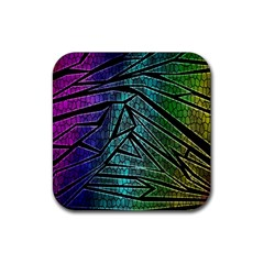 Abstract Background Rainbow Metal Rubber Square Coaster (4 Pack)  by Nexatart