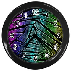 Abstract Background Rainbow Metal Wall Clocks (black)
