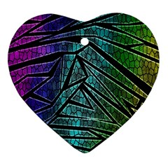 Abstract Background Rainbow Metal Heart Ornament (two Sides)