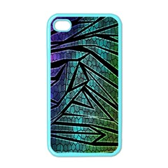Abstract Background Rainbow Metal Apple Iphone 4 Case (color)
