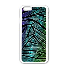 Abstract Background Rainbow Metal Apple Iphone 6/6s White Enamel Case