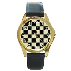 Square1 Black Marble & Beige Linen Round Gold Metal Watch