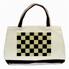 Square1 Black Marble & Beige Linen Basic Tote Bag (two Sides) by trendistuff