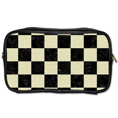 Square1 Black Marble & Beige Linen Toiletries Bag (two Sides) by trendistuff