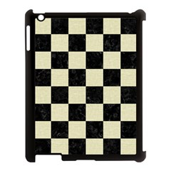 Square1 Black Marble & Beige Linen Apple Ipad 3/4 Case (black) by trendistuff