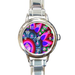Abstract Digital Art  Round Italian Charm Watch
