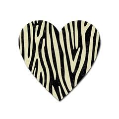 Skin4 Black Marble & Beige Linen (r) Magnet (heart) by trendistuff