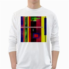 Abstract Art Geometric Background White Long Sleeve T Shirts