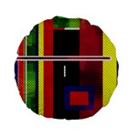 Abstract Art Geometric Background Standard 15  Premium Round Cushions Back