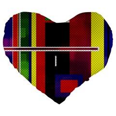 Abstract Art Geometric Background Large 19  Premium Flano Heart Shape Cushions by Nexatart