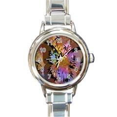Abstract Digital Art Round Italian Charm Watch