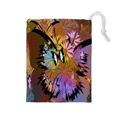 Abstract Digital Art Drawstring Pouches (large)