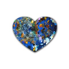 Abstract Farm Digital Art Rubber Coaster (heart)