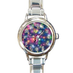 Abstract Background Graphic Design Round Italian Charm Watch