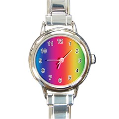 Abstract Rainbow Round Italian Charm Watch
