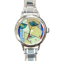 Abstract Art Face Round Italian Charm Watch