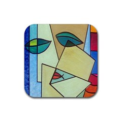 Abstract Art Face Rubber Coaster (square)