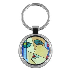 Abstract Art Face Key Chains (round)