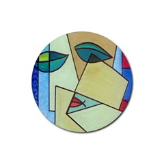 Abstract Art Face Rubber Round Coaster (4 Pack)