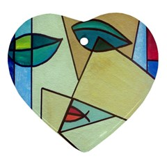 Abstract Art Face Heart Ornament (two Sides)