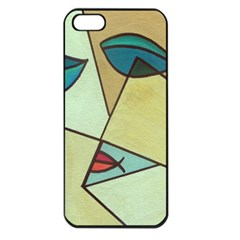 Abstract Art Face Apple Iphone 5 Seamless Case (black) by Nexatart
