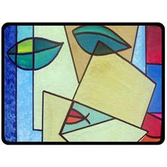 Abstract Art Face Double Sided Fleece Blanket (large)