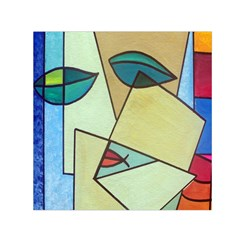 Abstract Art Face Small Satin Scarf (square) by Nexatart
