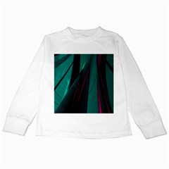 Abstract Green Purple Kids Long Sleeve T Shirts